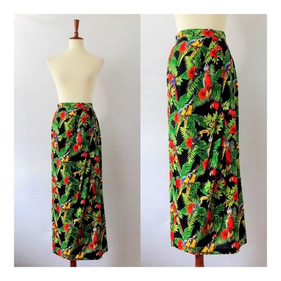 Vintage Tropical Bird Print Pencil Skirt