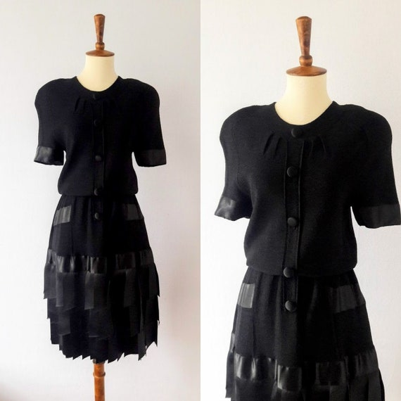 1980s Vintage Ribbon Cocktail Dress
