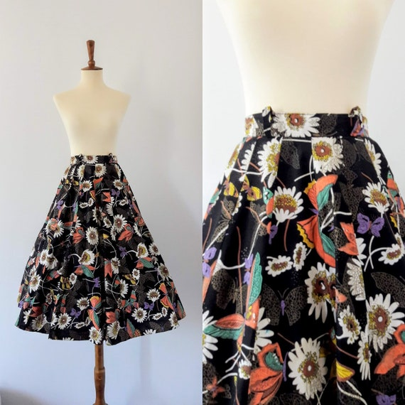 1950s Vintage Circle Skirt / Floral and Butterfly