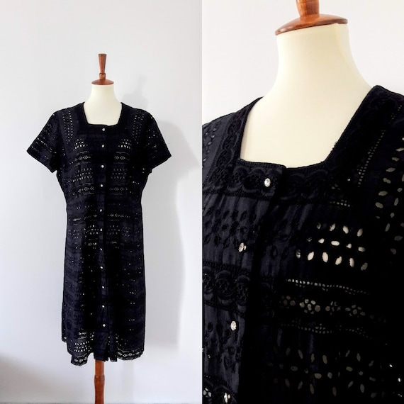 1950s Vintage Black Button-Up Dress