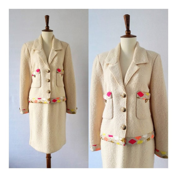 Vintage Wool Skirt-Suit with Silk Trim /  Adolfo N