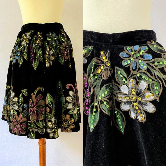 Vintage Painted Velvet Mexican Circle Skirt