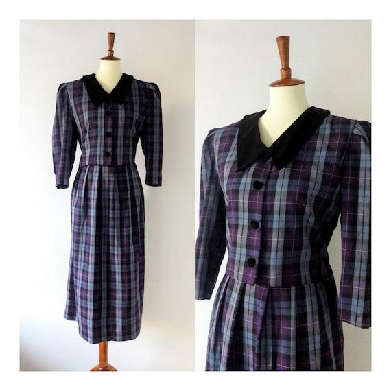 1980s does 1940s Vintage Plaid Dress