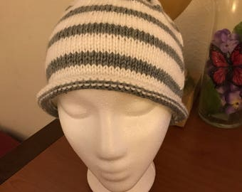 Womens or girls gray and white striped knit hat