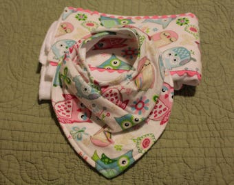 Bandanna bib, baby girl bib, burp cloth and bib set, newborn gift, baby shower gift, toddler bib,