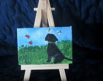 3X2 inch Mini  Acrylic Painting of a Black Lab Puppy for Your Dollhouse