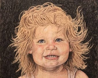Custom Portrait from Photo Color Pencil Drawing Original Handmade Gift on Wood