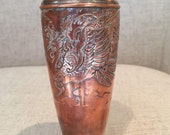 Antique or Vintage Japanese Vase Copper with Silver Inlaid Dragon Design. Y. in Yacht Yamatogumi Antimony Ware. 6 1 2 quot tall.