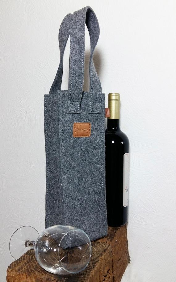 Geschenktasche Flaschentasche Weintasche Tragetasche Tasche für Wein Filztasche Filzdeko Grau