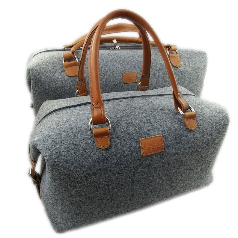c471137346 Set leather felt hand luggage bag handbag weekender felt bag