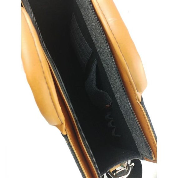 Aktentasche Business Handtasche Arbeitstasche Tasche Filz Und Leder Filztasche Bürotasche Schwarz