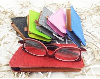 Glasses Case case bag case for glasses eyeglasses case made of felt with genuine leather application/gift for you child