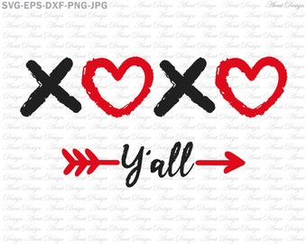 Xoxo Svg Valentines Day Svg Dxf Png Eps Files For Cricut Etsy