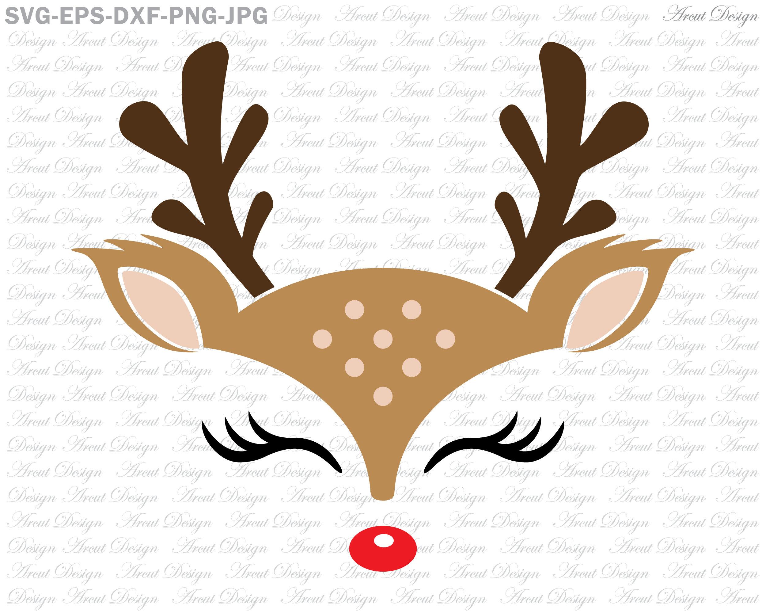 Cute Reindeer Face Svg Reindeer Face Svg Christmas Svg | Etsy
