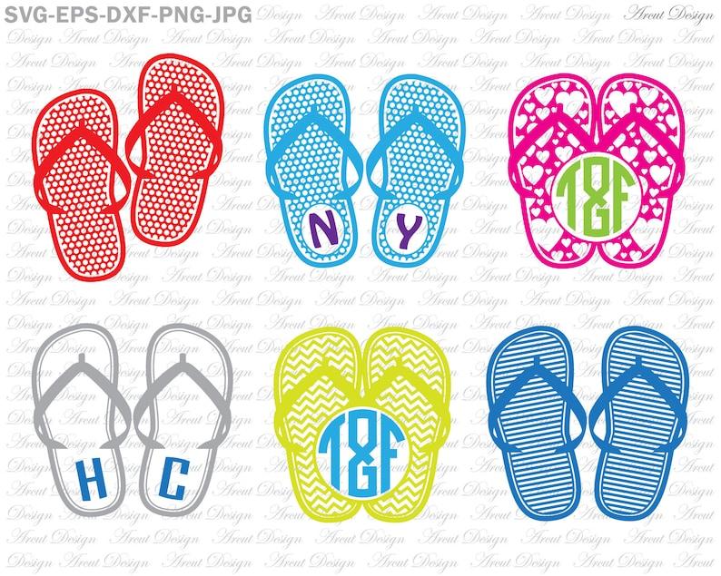 0d6da6403 Flip Flops Svg Files Beach Svg Summer Monogram Svg Cutting
