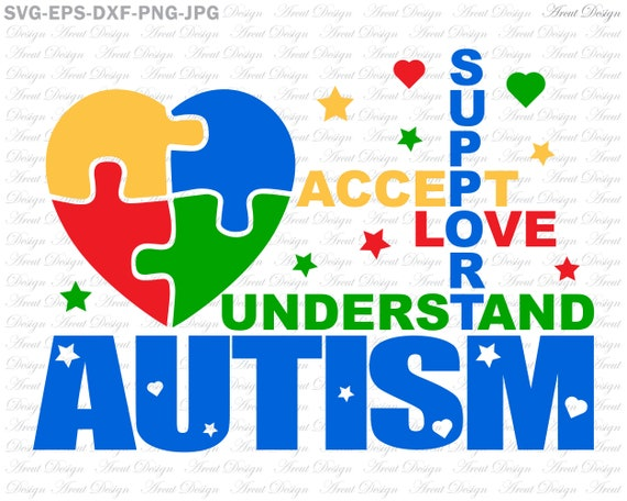 accept image png jpg accept love understand support autism svg, svg eps dxf png jpg files for  cricut and silhouette, autism mom clipart shirt svg file, proud mom