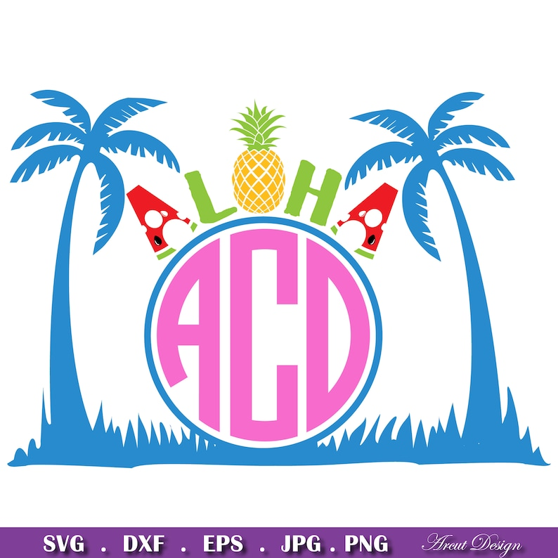 Aloha Beaches Monogram Svg, Aloha Summer SVG, Beach svg, Monogram Svg,  Cutting machines svg, For Cricut and Silhouette Cameo, Summer Svg