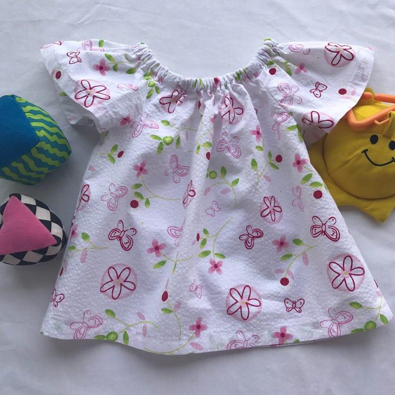 8ad569c14df Vestido campesino bebé niña 3-6 meses hecho a mano en tela de