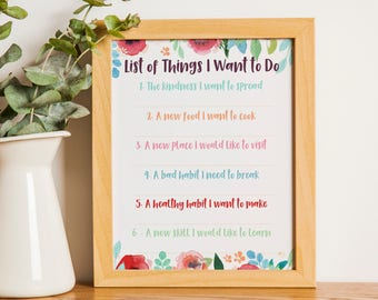 New years quote, new years resolution, things to do list, Motivational wall art, inspirational quote, feminist wall art, motivational quote