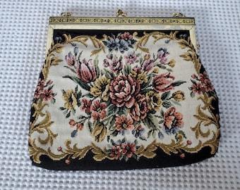 Vintage Tapestry Floral Design Ladies Evening Bag Clutch Purse