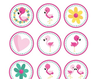 Pink Flamingo Cupcake Toppers, Instant Download, Birthday, Party Supplies