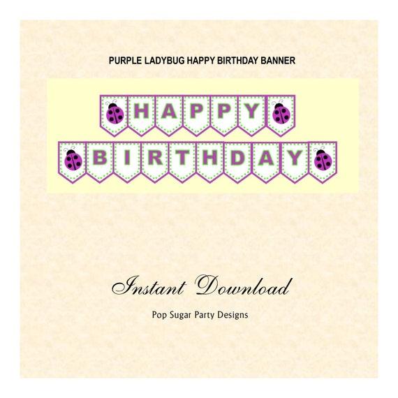 purple ladybug banner happy birthday instant download etsy