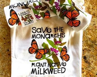 Save the Monarchs Ladies 100% Cotton T-Shirt / Monarch Butterflies