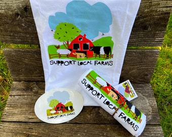 Support Local Farms Unisex T-Shirt / 100% Cotton / Original Design /  S-XL