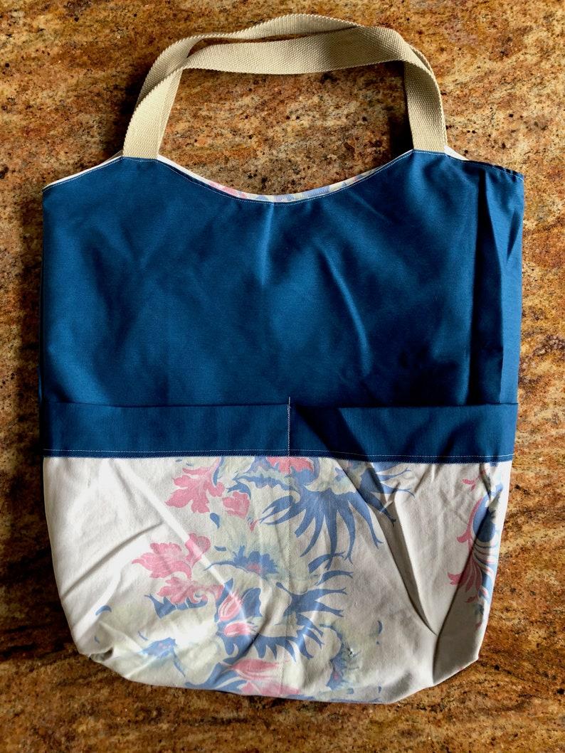 Vintage Tablecloth Market Bag  Handmade Bag  Vintage Tablecloth  Farmers Market Bag Gardeners Gift
