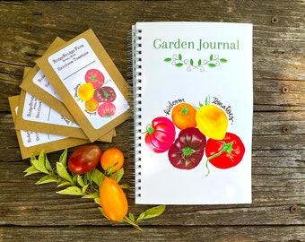 Heirloom Tomato Garden Journal  / Garden Notebook / Includes 4 Heirloom Tomato Seed Packets