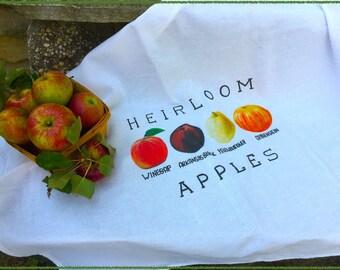 Heirloom Apples Flour Sack Dish Towel / Heirloom Apples / Autumn Dish Towel