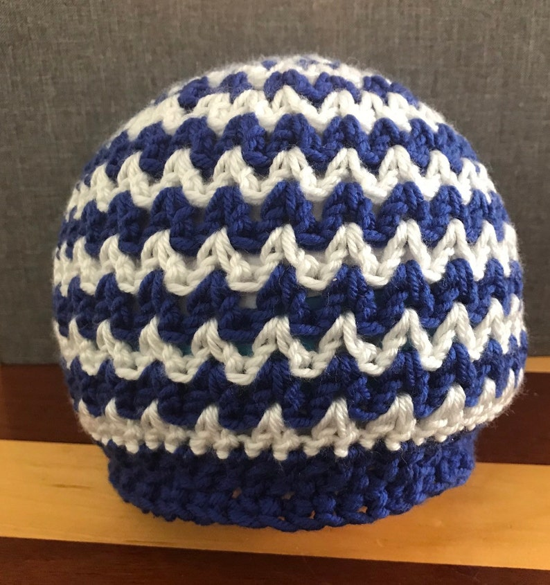 Blue And White Chevron Kids Hat