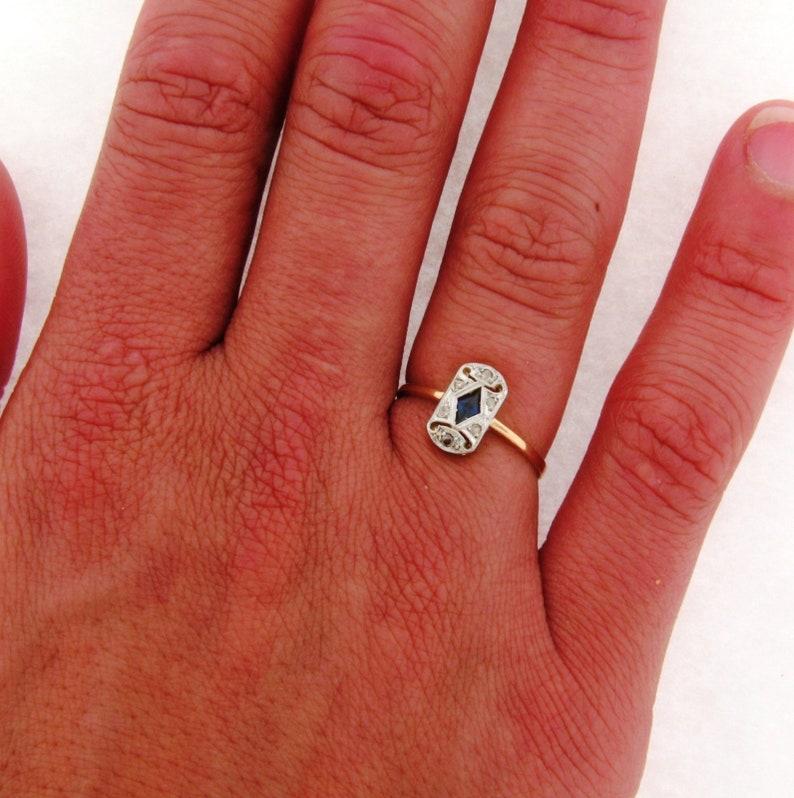 Original Art Deco Diamonds Sapphire Platinum 18K Yellow Gold Ring