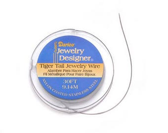Darice Tiger Tail Wire - Nylon Coated Stainless Steel - #42 - 36mm - 30 ft - 18267