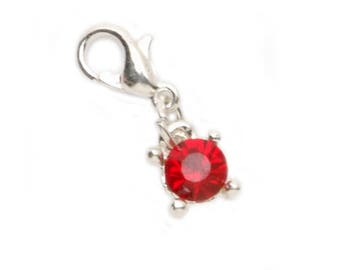 Lobster Clasp Charm - Faux Garnet - .25 x .375 inches-1999-7317