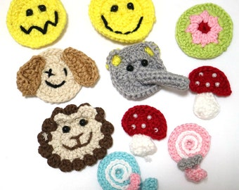 3pclot DIY Hand crocheted flower patches for clothes woven flowers appliques for hairpin cashmere sweater