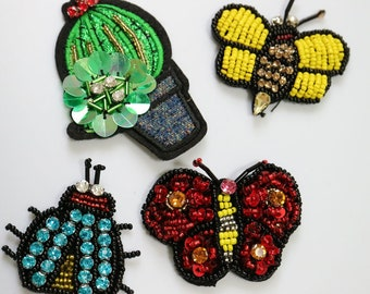 7pcs/lot 3D feather beaded Patches for clothing Iron patch