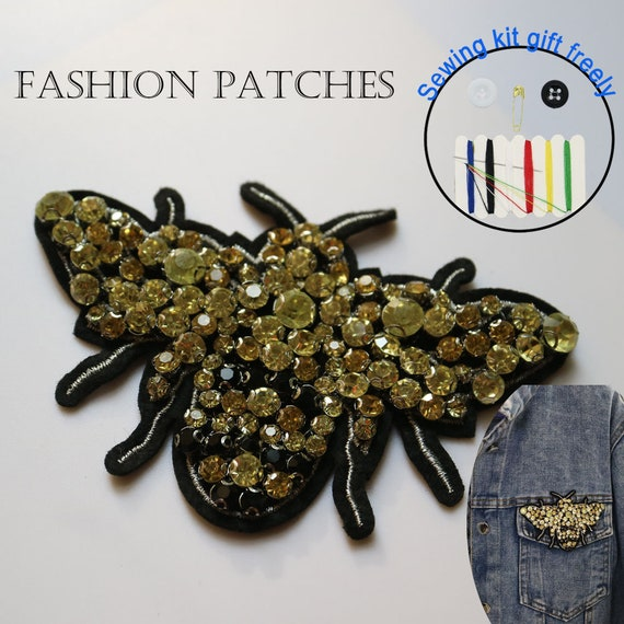 1 Pc DIY Cute Beaded Rhinestone Bee Appliques Patch Sew on Clothes Decoration