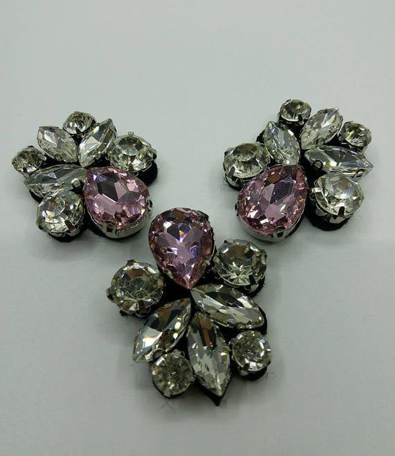 2pcs Star Crystal Rhinestones Beaded Patches Sew on Applique Motif DIY Decor