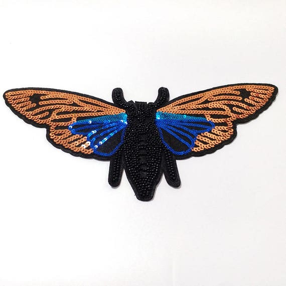 Rhinestone Sequin Patch Iron//Sew on Butterfly Applique for Bag Garment Decor