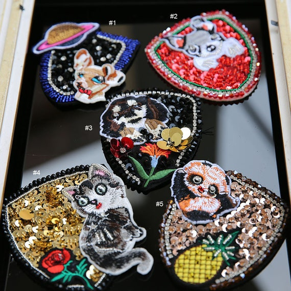 1pc cat Puppies Embroidery Beaded Patches for clothing Animals  79df58d9c849
