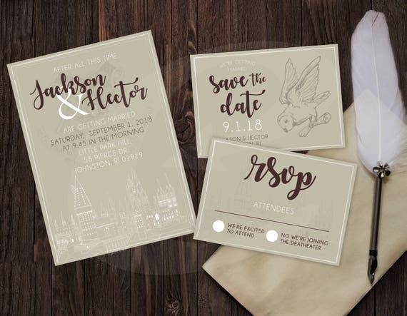 Harry Potter Tematyczne Zaproszenie ślubne Rsvp Zapisz Etsy