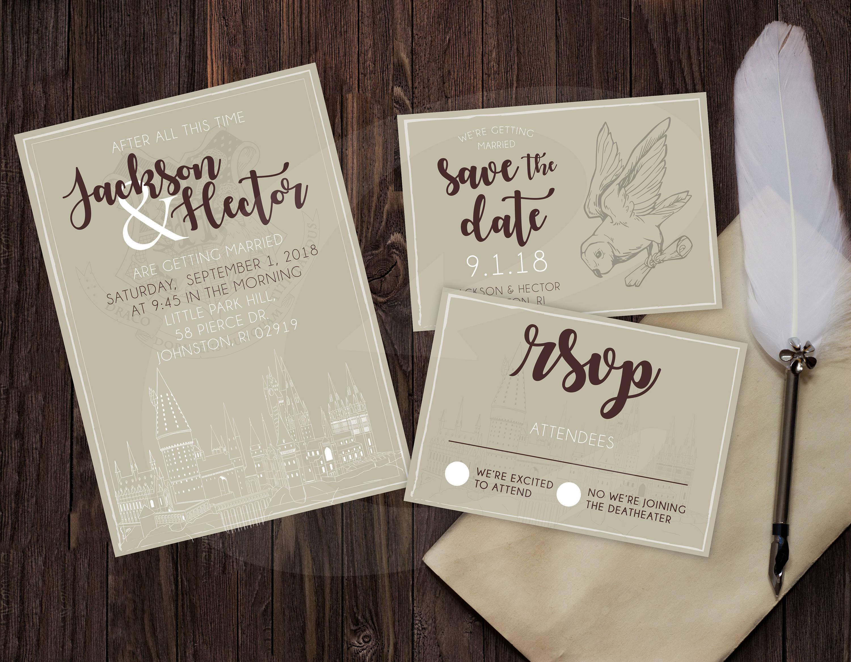 Harry Potter Themed Wedding Invitation RSVP & Save the Date   Etsy