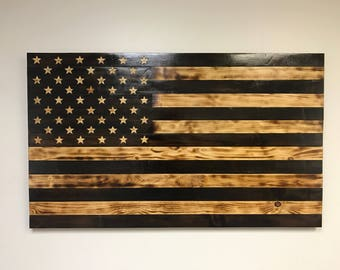Wooden American Antique Flag Burned Rustic Wood Neutral Brown Hand Crafted Wall Art