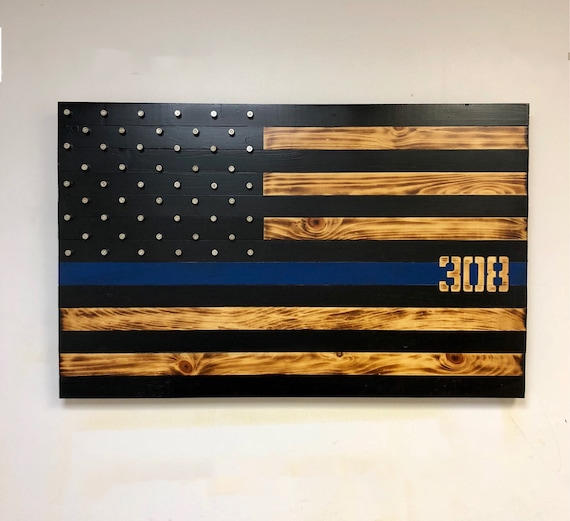 Rustic Thin Blue Line Wooden Flag With Shell Casing Stars