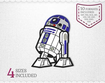 258041d71cf4f Star Wars R2D2 Applique Design For Embroidery Machine - 4 Sizes - INSTANT  DOWNLOAD