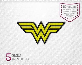 Wonder Woman Logo Shield Embroidery Machine Design - 5 Sizes - INSTANT DOWNLOAD