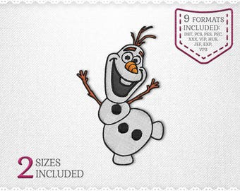 Olaf Frozen Embroidery Machine Design - 2 Sizes - INSTANT DOWNLOAD - Applique, Embroidery, Designs