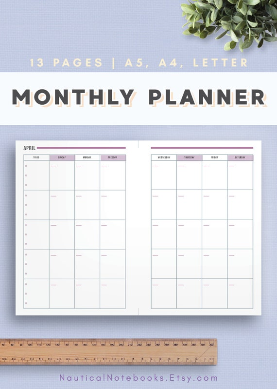 monthly planner in a4 a5 us letter printable undated etsy