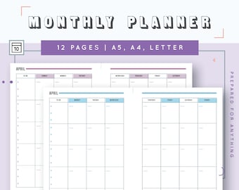 Monthly Planner in A4, A5, US Letter | Printable Undated Monthly Calendar | Kikki K Large Monthly Inserts | Filofax Monthly Refills | MO2P